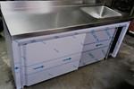 mueble de acero inox para hostelería con fregadero y puertas de acero inox